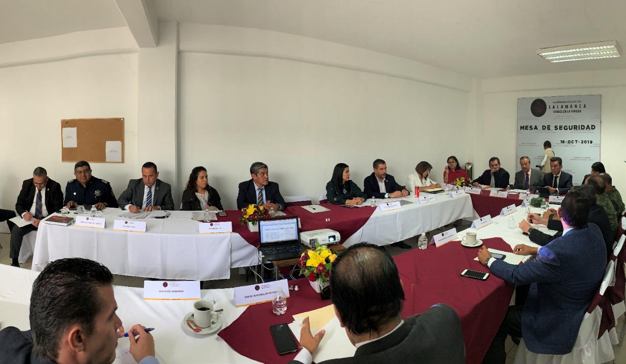 Para reducir la incidencia de inseguridad, realizan Mesa de Seguridad en Salamanca