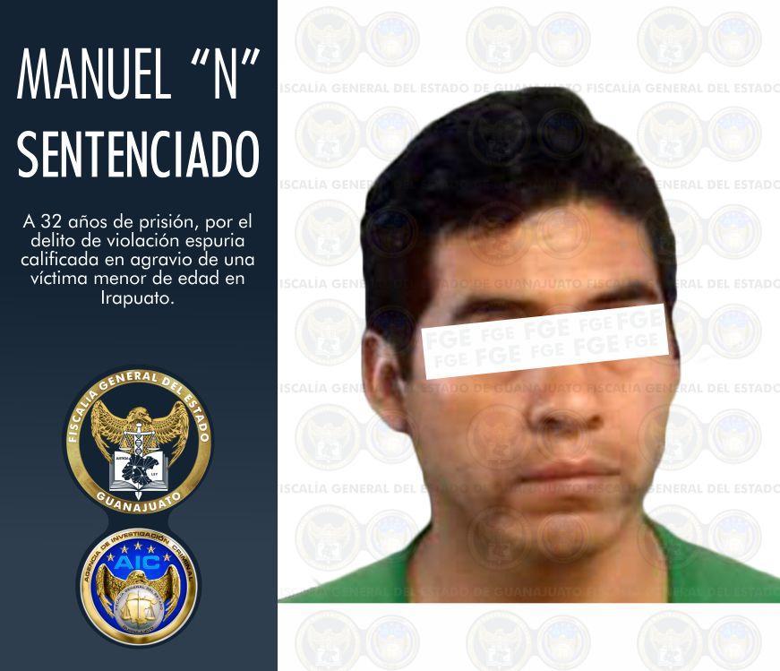 Dan 32 años de cárcel a sujeto que violó a una menor en Irapuato