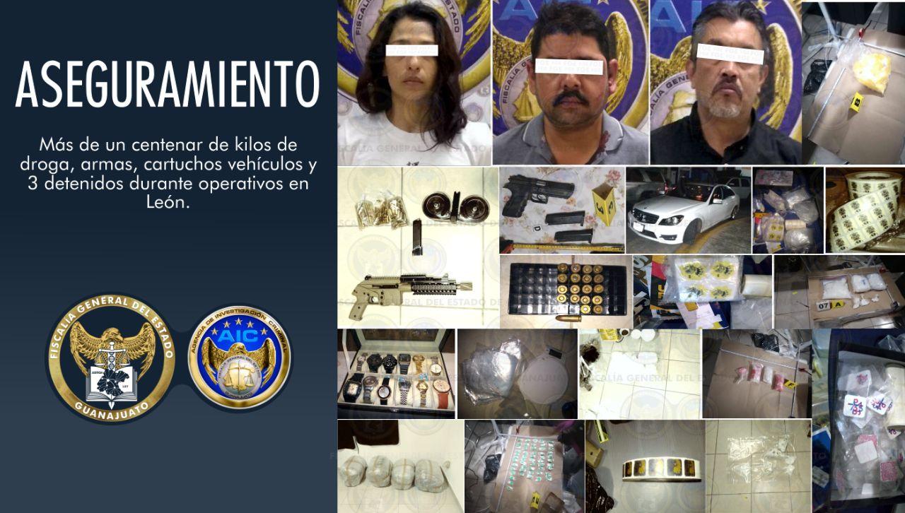 """""""Revientan"""" narco-casas; encuentran cien kilos de drogas, armas y balas; hay 3 detenidos"""