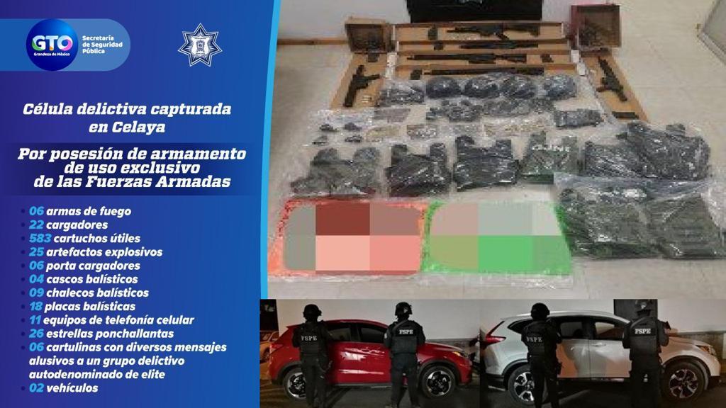 Detienen a 10 integrantes de una célula criminal; decomisan arsenal con 25 granadas