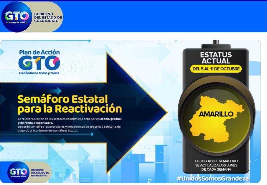 Guanajuato cambia a semáforo amarillo, a partir del lunes 5 de octubre