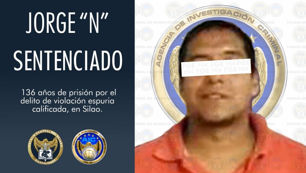 Dan 136 años de prisión a sujeto por violación espuria calificada contra menor de edad