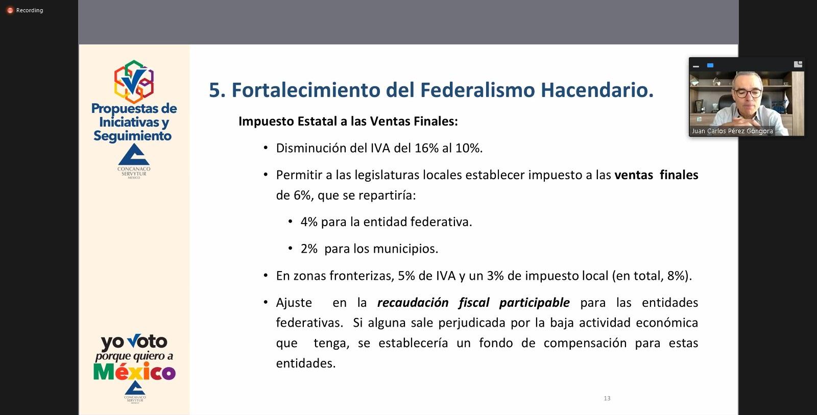 Repartir IVA entre federación, estados y municipios, propone CANACO a candidatos