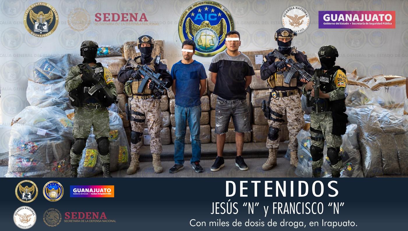 Aseguran en Irapuato miles de dosis de drogas; hay dos detenidos